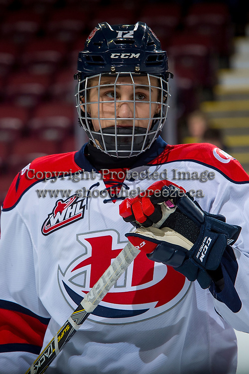 KELOWNA, CANADA - NOVEMBER 17: Noah Boyko #12 of the Lethbridge Hurricanes warms up against the Kelowna Rockets on November 17, 2017 at Prospera Place in Kelowna, British Columbia, Canada.  (Photo by Marissa Baecker/Shoot the Breeze)  *** Local Caption ***