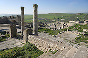 High angle view of the Temple of Concorde, Frugifer and Liber Pater, 2nd century, in  Dougga, Tunisia, pictured on January 31, 2008, in the morning. Dougga has been occupied since the 2nd Millennium BC, well before the Phoenicians arrived in Tunisia. It was ruled by Carthage from the 4th century BC, then by Numidians, who called it Thugga and finally taken over by the Romans in the 2nd century. Situated in the north of Tunisia, the site became a UNESCO World Heritage Site in 1997. Picture by Manuel Cohen.