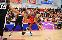 Lewis Champion of Bristol Flyers tries to get past Dii'Jon Allen-Jordan of London Lions- Photo mandatory by-line: Nizaam Jones/JMP - 19/10/2019 - BASKETBALL - SGS Wise Arena - Bristol, England - Bristol Flyers v London Lions - British Basketball League Cup