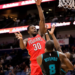 Apr 3, 2019; New Orleans, LA, USA;  New Orleans Pelicans center Julius Randle (30) shoots over Charlotte Hornets center Bismack Biyombo (8) during the second half at the Smoothie King Center. Mandatory Credit: Derick E. Hingle-USA TODAY Sports