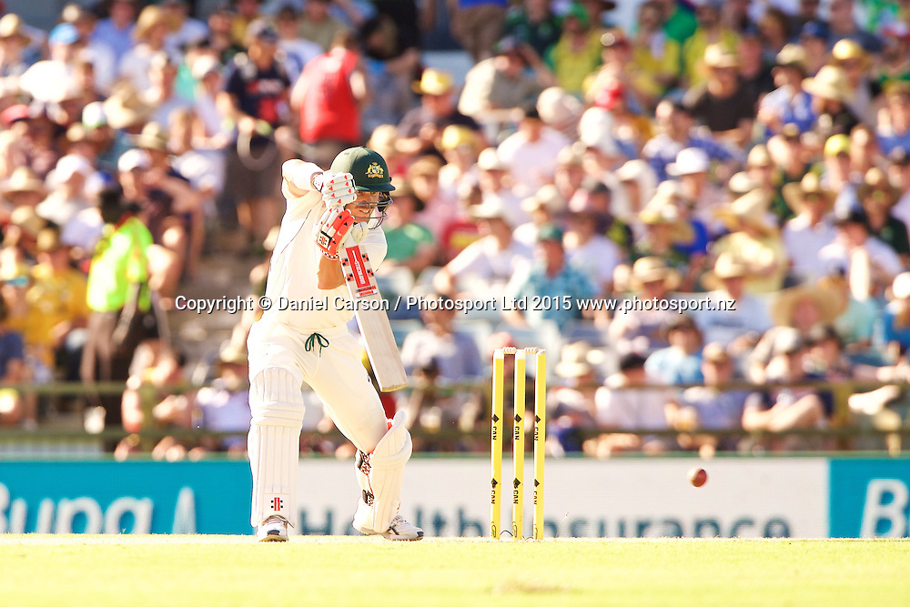 David Warner of Australia plays a cut shot during Day 1 on the 13th of November 2015. The New Zealand Black Caps tour of Australia, 2nd test at the WACA ground in Perth, 13 - 17th of November 2015.   Photo: Daniel Carson / www.photosport.nz