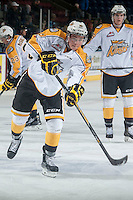 KELOWNA, CANADA - OCTOBER 25: Tanner Kaspick #16 of Brandon Wheat Kings takes a shot during warm up against the Kelowna Rockets on October 25, 2014 at Prospera Place in Kelowna, British Columbia, Canada.  (Photo by Marissa Baecker/Getty Images)  *** Local Caption *** Tanner Kaspick;