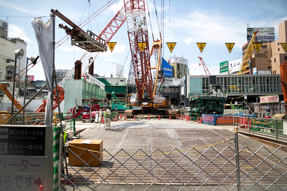 TOKYO, JAPAN - JUNE 3 : Construction in Shibuya, Tokyo, Japan, Photo taken on July 3, 2016.<br /> Photo: Richard Atrero de Guzman