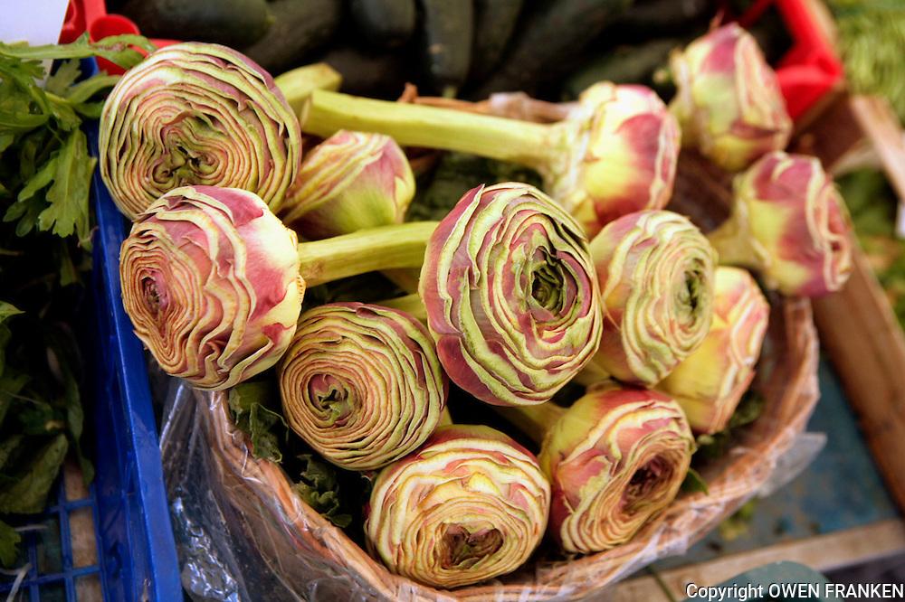 rome,campo dei fiori..artichokes cut to be cooked a la romana...