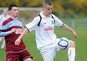 Conor Meade Cobh Ramblers and Garry Kelly, Galway United in  Cappa Park in Knocknacarra, Galway. Photo:Andrew Downes.