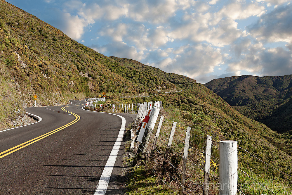 Winding road over Rimutaka Hill in the Rimutaka ranges, Upper Hutt, New Zealand