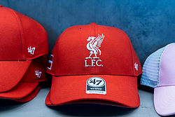 LIVERPOOL, ENGLAND - Monday, August 3, 2020: LFC baseball caps on display in the Liverpool FC retail store. (Pic by David Rawcliffe/Propaganda)