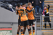 hull city celebrate Hull City striker Abel Hernandez (9) scoring his second goal to go 2-0 up  during the Sky Bet Championship match between Hull City and Charlton Athletic at the KC Stadium, Kingston upon Hull, England on 16 January 2016. Photo by Ian Lyall.