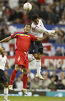 Photo: Aidan Ellis.<br /> England v Andorra. European Championships 2008 Qualifying. 02/09/2006.<br /> England's Keiran Richardson beats Andorra's Antonio Sivera to the ball