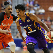 UNCASVILLE, CONNECTICUT- MAY 26: Alana Beard #0 of the Los Angeles Sparks drives past Alex Bentley #20 of the Connecticut Sun in action during the Los Angeles Sparks Vs Connecticut Sun, WNBA regular season game at Mohegan Sun Arena on May 26, 2016 in Uncasville, Connecticut. (Photo by Tim Clayton/Corbis via Getty Images)