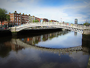 Halfpenny Bridge, Wellington Quay, Dublin, 1816, love locks are often placed on this bridge. temple bar, liffey street, river liffey