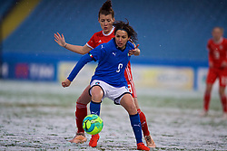 CESENA, ITALY - Tuesday, January 22, 2019: Italy's Daniela Sabatino and Wales' Angharad James during the International Friendly between Italy and Wales at the Stadio Dino Manuzzi. (Pic by David Rawcliffe/Propaganda)