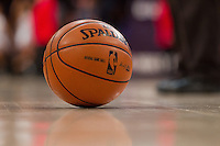 30 October 2012: A Spalding NBA basketball sits on the court during a timeout during the first half of the Dallas Mavericks 99-91 victory over the Los Angeles Lakers at the STAPLES Center in Los Angeles, CA.