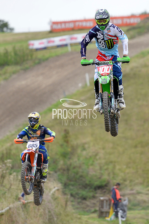 Tommy Searle (100) of Monster Energy DRT Kawasaki and Steven Lenoir (685) of Dyer & Butler KTM during round 8 of the Maxxis Acu British Motocross Championship at Foxhill Moto Park, Swindon, United Kingdom on 18 September 2016. Photo by Mark Davies.