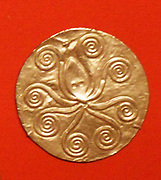 Reproduction of a gold disk with an embossed pattern. Mycenaean Late Helladic ca. 1600-1500 B.C. made by Emile Gilliéron, père