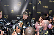 Apr 4, 2018; Los Angeles, CA, USA; LAFC coach Bob Bradley speaks to th media at press conference at the grand opening of the LAFC Performance Center on the campus of Cal State LA. The 30,000 square foot and $30 million facility will serve as home of the LAFC players, staff, coaches and academy.