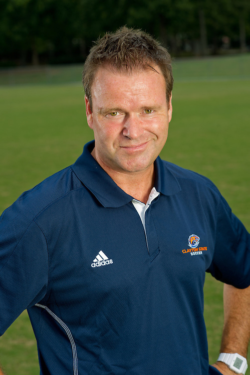 Aug 18, 2012; Morrow, GA, USA; Clayton State University's women's soccer head coach Gareth O'Sullivan during team portraits. Photo by Kevin Liles/kdlphoto.com