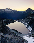 AFTERGLOW ON HIDDEN LAKE, NORTH CASCADES NATIONAL PARK, WASHINGTON