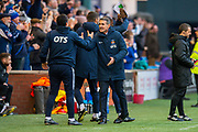 Kilmarnock manager, Angelo Alessio celebrates after Kilmarnock score their second goal during the Ladbrokes Scottish Premiership match between Kilmarnock FC and Heart of Midlothian FC at Rugby Park, Kilmarnock, Scotland on 23 November 2019.