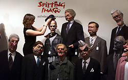 Sothebys to sell cast of satirical TV show Spitting Image. Photo shows Kerry Taylor, Director of Communications for online auctions at Sothebys with some of the old members of the Conservative Party, July 7, 2000. Photo by Andrew Parsons / i-images...spain out