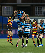 Cardiffs' replacement Alex Everett  claims a high ball.<br /> <br /> Cardiff Arms Park, Cardiff, Wales, UK - Saturday 19th October, 2019.<br /> <br /> Images from the Indigo Welsh Premiership rugby match between Cardiff RFC and Carmarthen Quins RFC. <br /> <br /> Photographer Dan Minto<br /> <br /> mail@danmintophotography.com <br /> www.danmintophotography.com