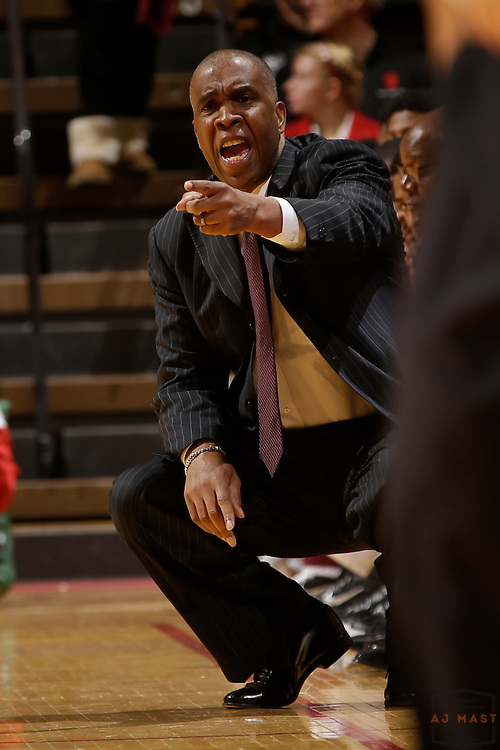 Texas Southern head coach Mike Davis as Texas Southern University played Indiana in an NCCA college basketball game, Monday, Nov. 17, 2014 in Bloomington, Ind.. (AJ Mast /Photo)