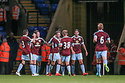 The Burnley players congratulate Josh Ginnelly (Burnley) for scoring the winning goal with seconds to go. 2-1 during the Pre-Season Friendly match between Bolton Wanderers and Burnley at the Macron Stadium, Bolton, England on 26 July 2016. Photo by Mark P Doherty.