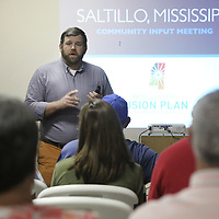 Adam Robison | BUY AT PHOTOS.DJOURNAL.COM<br /> Ben Muldrow, team leader woth Arnett Muldrow and Associates, leads a public forum at Saltillo City Hall to get input on the futrure of Saltillo and the Saltillo Main Street Association Tuesday night in Tupelo.
