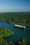 Cargo ship through Panama Canal, aerial view, Panama, Central America