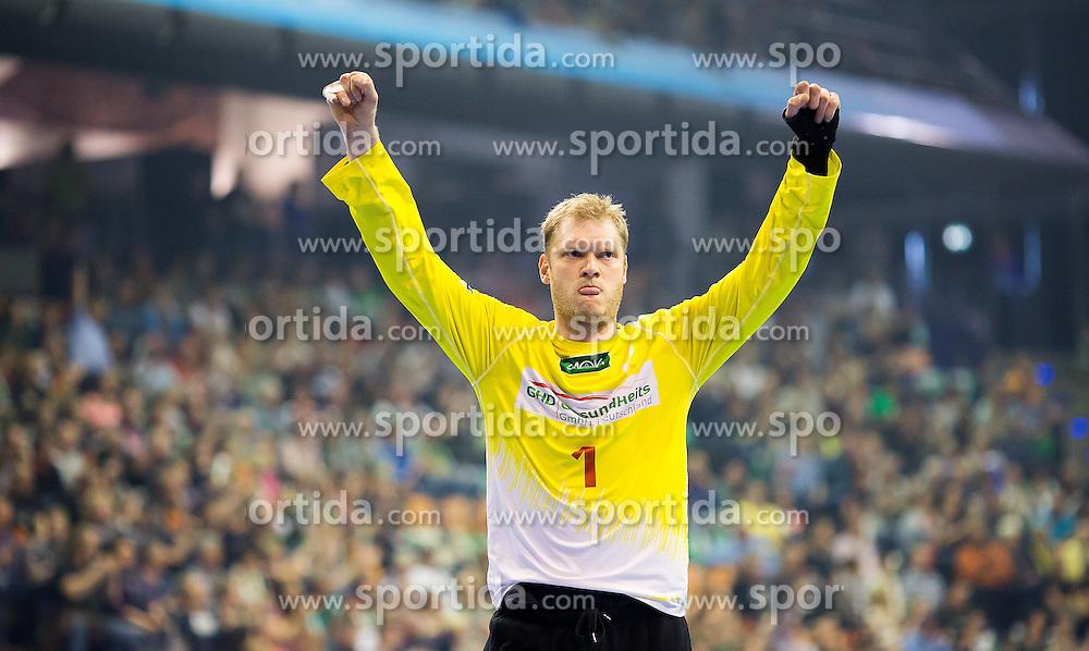 Berlin, Germany, 16.05.2015:<br /> Handball EHF Cup semi final  Spiel 1 2014 / 2015 - Skjern Handbold - HSV Hburg - EHF CUP Finals 2014/15.<br /> <br /> goalkeeper Johannes Bitter (HSV #1) *** Local Caption *** &copy; pixathlon