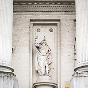 A statue on the front exterior of the Church of Saint Jacques-sur-Coudenberg in central Brussels, Belgium