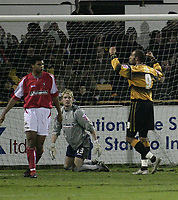 Photo: Barry Bland.<br />Boston United v Swindon Town. The FA Cup. 16/11/2005.<br />Julian Joachim celebrates after scoring