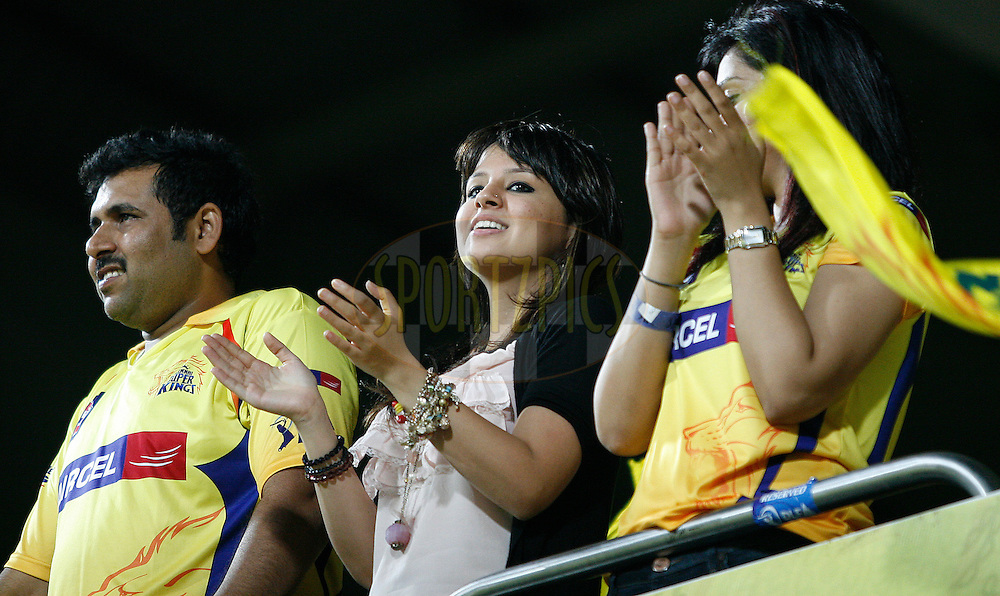 Sakshi, wife of MS Dhoni (centre) applauding his performance during match 39 of the Indian Premier League ( IPL ) Season 4 between the Chennai Superkings and The Deccan Chargers held at the MA Chidambaram Stadium in Chennai, Tamil Nadu, India on the 1st May 2011..Photo by Vino John/BCCI/SPORTZPICS