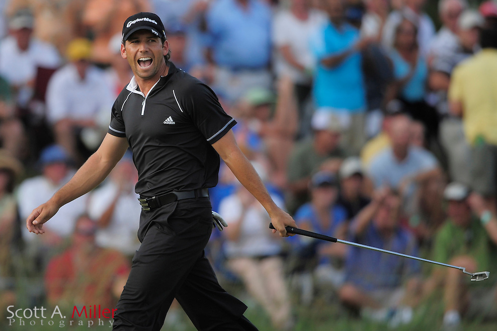 Sergio Garcia reacts after making a par putt on the 17th hole during the final round of the Players Championship at TPC Sawgrass on May 11, 2008 in Ponte Vedra Beach, Florida.     © 2008 Scott A. Miller