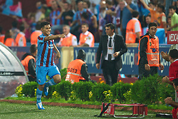 TRABZON, TURKEY - Thursday, August 26, 2010: Trabzonspor's Teofilo Gutierrez celebrates scoring the opening goal against Liverpool during the UEFA Europa League Play-Off 2nd Leg match at the Huseyin Avni Aker Stadium. (Pic by: David Rawcliffe/Propaganda)