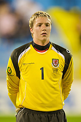 PODGORICA, MONTENEGRO - Wednesday, August 12, 2009: Wales' goalkeeper Wayne Hennessey lines-up before an international friendly match against Montenegro at the Gradski Stadion. (Photo by David Rawcliffe/Propaganda)