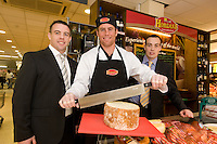 Connacht Rugby's Gavin Duffy,  centre with Edward Horgan  and Paul Horgan from Horgan's Delicatesses Supplies at the opening of Horgan's Delicatessen Suppliers' first ever Food Emporium at Joyce's Supermarket, Knocknacarra, Co Galway.  The initiative marks Horgan's first Food Emporium Concept Store and cements a longstanding relationship with Joyce's Supermarket Group..Photo:Andrew Downes