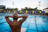 Xavier Mascareñas/Treasure Coast Newspapers; Treasure Coast's Noah King prepares for his next event during the high school swim and dive double dual meet Oct. 11, 2017, at Indian River State College in Fort Pierce.