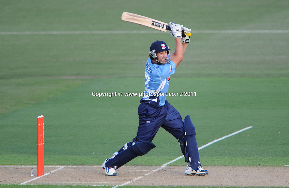 Auckland batsman Colin de Grandhomme in action during the HRV Twenty20 Cricket match between the Auckland Aces and Northern Knights at Colin Maiden Oval in Auckland on Monday 26 December 2011. Photo: Andrew Cornaga/Photosport.co.nz