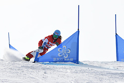 ZHANGJIAKOU, Feb. 24, 2019  Patrizia Kummer of Switzerland competes during the women's Parallel Slalom final of FIS Snowboard World Cup 2018-2019 in Zhangjiakou of north China's Hebei Province, on Feb. 24, 2019. (Credit Image: © Xinhua via ZUMA Wire)