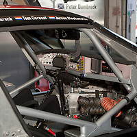#85 Spyker C8 Laviolette GT2-R in the pit garage - Spyker Squadron (Drivers - Peter Dumbreck, Tom Coronel and Jeroen Bleekemolen) GT2, Le Mans Series Silverstone 1000KM 2010