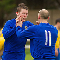 Clare's Colin Smyth and Garry Higgins celebrate a goal