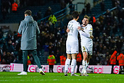 Leeds United defender Pascal Struijk (34) is hugged by Leeds United midfielder Kalvin Phillips (23) during the EFL Sky Bet Championship match between Leeds United and Hull City at Elland Road, Leeds, England on 10 December 2019.