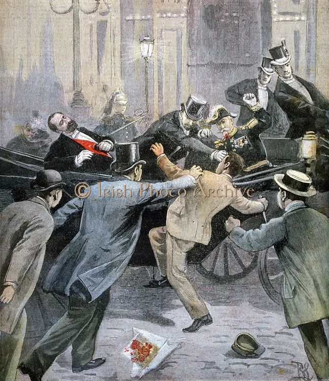 Assassination of the French President Sadi Carnot by the Italian Anarchist Santo Caserio at Lyons, 24 June 1894.  From 'Le Petit Journal', Paris, 2 July 1894. France, Murder