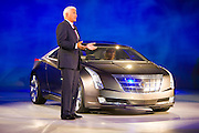 "Robert ""Bob"" Lutz introduces the Cadillac Converj during the General Motors Press Conference at the 2009 NAIAS, North American International Auto Show, held in Detroit Michigan."