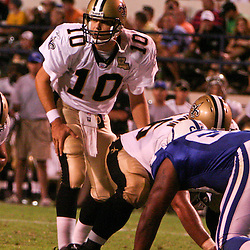 26 August 2006: New Orleans Saints backup quarterback Jamie Martin (10) under center during a NFL preseason game between the Indianapolis Colts against the New Orleans Saints at Veterans Memorial Stadium in Jackson, Mississippi.