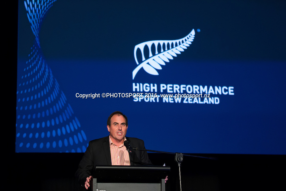M C Andrew Alderson at the High Performance Sport NZ Waikato ceremony for the Prime Minister's Scholarship Awards, at Sir Don Rowlands Centre, Lake Karapiro, Cambridge, New Zealand, 20 April 2016. Copyright Photo: Stephen Barker / www.photosport.nz