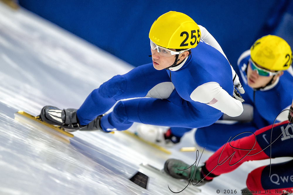 March 20, 2016 - Verona, WI - Benjamin Thornock, skater number 255 competes in US Speedskating Short Track Age Group Nationals and AmCup Final held at the Verona Ice Arena.