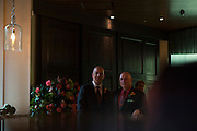 Photo by Matt Roth<br /> Assignment ID: 30148071A<br /> <br /> David Hagedorn, left, a chef and food writer, and Michael Widomski, right, a spokesman for the National Weather Service, wait for their introduction during their wedding reception at Fiola Restaurant in Washington, DC, Sunday, September 22, 2013.