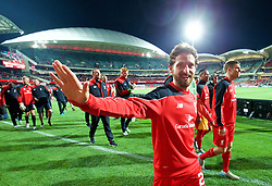 ADELAIDE, AUSTRALIA - Monday, July 20, 2015: Liverpool's Joe Allen waves to supporters after the 2-0 victory over Adelaide United during a preseason friendly match at the Adelaide Oval on day eight of the club's preseason tour. (Pic by David Rawcliffe/Propaganda)
